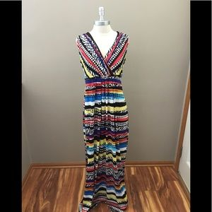 New ny Collection Multicolored Pattern Maxi Dress